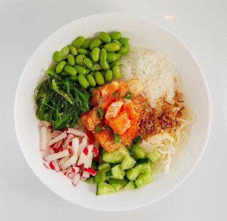 Signature bowl: Spicy Salmon  Sushi rijst | Spicy Zalm | Witte kool | Komkommer Edamame | Wakame | Radijs | Gefrituurde ajuin Pikante kruiden | Koriander | Spicy Mayo