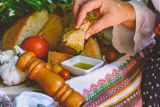 Home-baked bread under an iron bell @ Konavoski Dvori Eco Green Restaurant (Cavtat/Dubrovnik area)