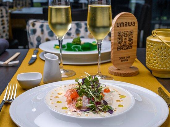 Sashimi de salmón y corvina