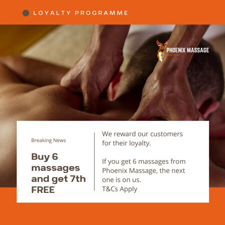 We reward your Loyalty!!! Get a FREE massage every time you've had 6 massage at Phoenix Massage Galway - T&Cs Apply!