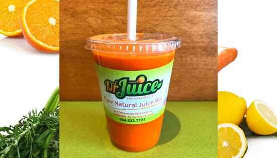 The 911 Fresh Pressed Juice is one of our most popular items with a refreshing taste of Carrot, Orange, Lemon, Ginger and Turmeric.