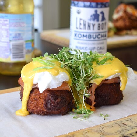 Bubble & Squeak Boxty Benny   House Made Bubble and Squeak Hashbrown Boxty, House Cured Salmon, Two Poached Eggs, Hollandaise, Scallions, Micro Greens