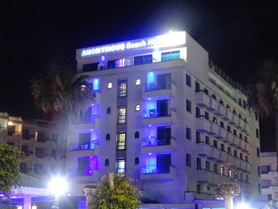 The front side of the hotel in the night