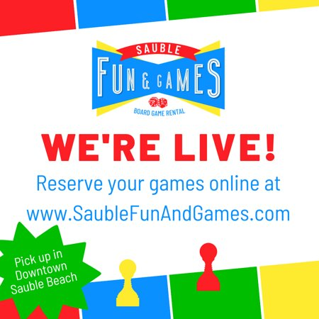Sauble Fun & Games - Sauble Beach's first board game rental! We have over 90 games to choose from. Reservation is quick and easy at www.saublefunandgames.com