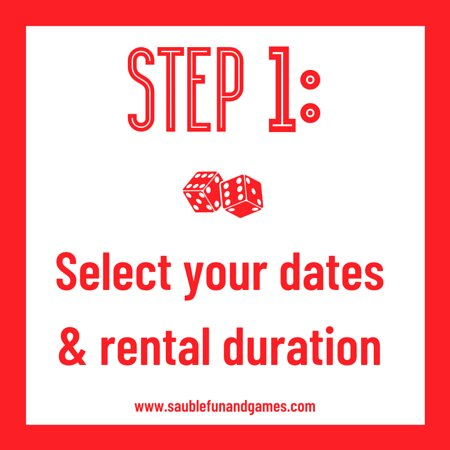 Step 1: Click 'Rent a Game' and select your preferred dates and rental duration