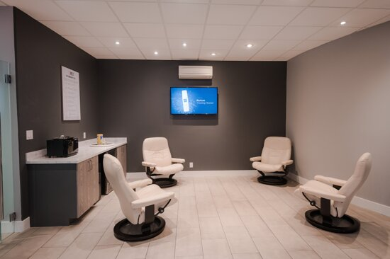 Relax in our waiting room at Melt Mineral Spa
