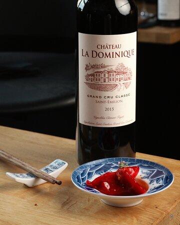 Dim sum Osso bucco accompagné d'un verre de vin du sublime château La Dominique Grand cru Classé Saint-Emilion 2015