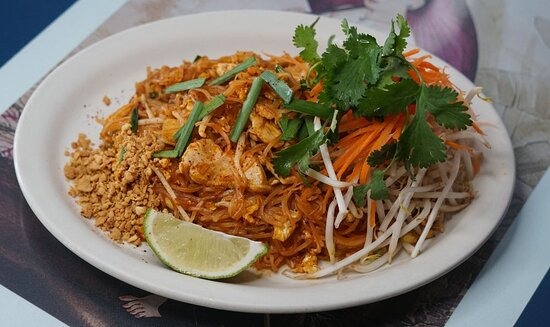 Pad Thai - Stir fried rice noodles with egg, bean sprouts, pickle radish, onion, scallion and Peanuts