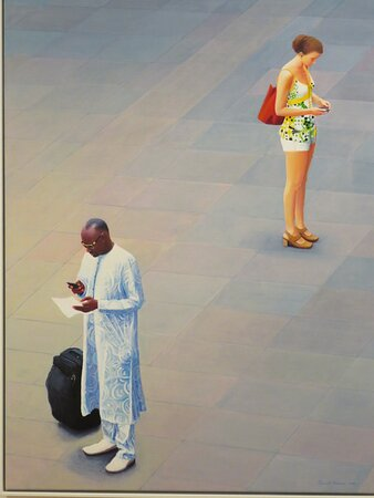 Painting with a message. Highlighting and contrasting different people in a typical setting ... at Antwerp Station in Belgium; mobile phones connecting the West African with the woman from Europe - traditional dress and modern fashion.