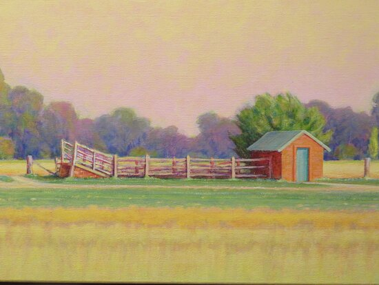 Shed, pens and stock loading ramp in the paddocks. More horizontal lines across the centre of the painting.
