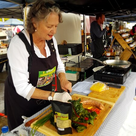 Our foodie guru and guide Kathrin Chappell demonstrating at our local Tauranga Farmers Market