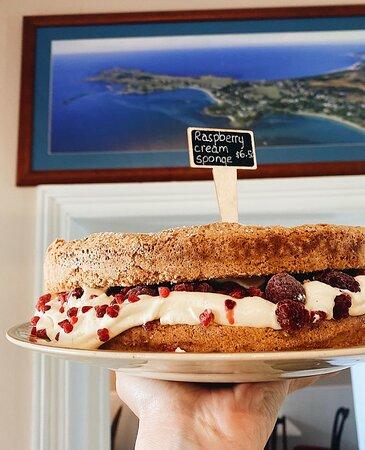 Famous raspberry and cream sponge cake