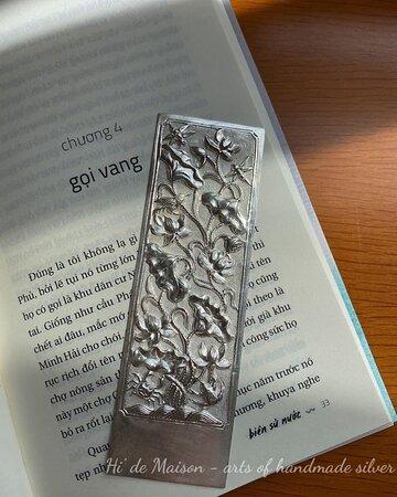 Lotus bookmark 100% handmade in Vietnam Pure silver 13cm*4.1cm