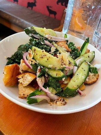 Panzanella Salad, Broccolini, Stuffed Yorkies