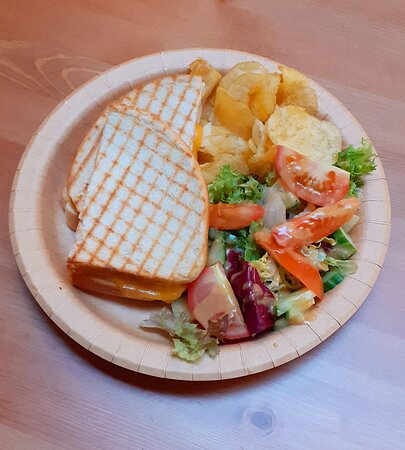 Lighter bites include sandwiches, filled rolls and toasties served with crisps and salad.