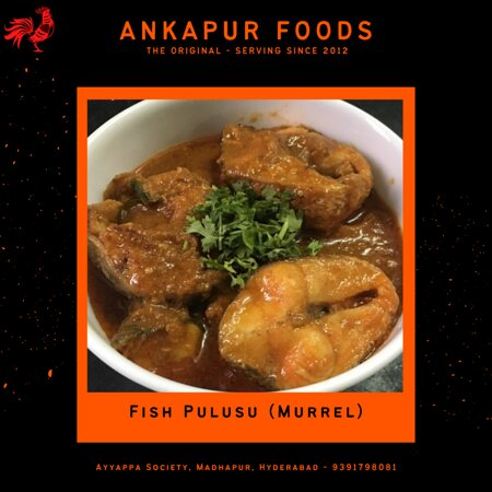 Fish gravy (Fish Pulusu - local name). We use live Murrel fish. Fresh cut murrel fish is marinated and cooked in tamarind sauce with fresh spices.