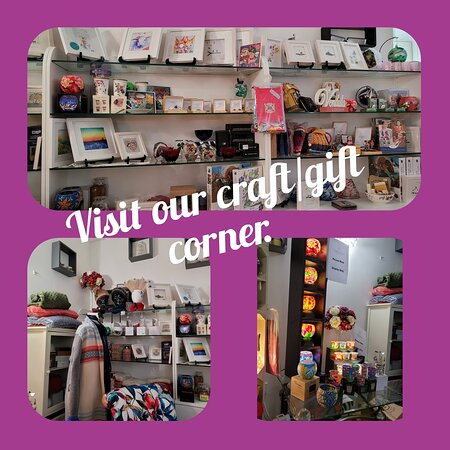 Our quirky Crafternoon Tea craft/gift corner is well worth a browse!