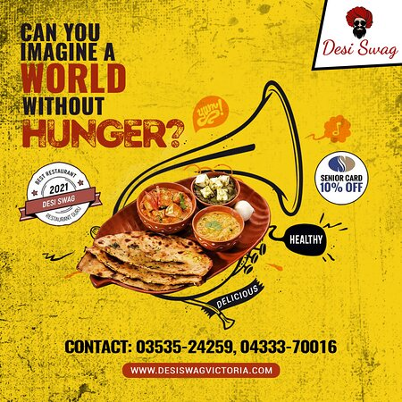Satiate your hunger pangs with our tasty and authentic Indian food now. Opt for vegetarian/non-veg/vegan or gluten-free as a meal/starter or snacks. Experience our nutritious and delicious delicacies and drinks. ·       10% OFF for Seniors Card and Birthday Parties ·Come to DESI SWAG, 202-204, Barkly Street, Ararat-Vic.  Free Home deliveries Make your bookings for Dine-in/Take-Away/Delivery on 03535-24259, 04333-70016  Order online at https://desiswagvictoria.com/welcome/menu_order