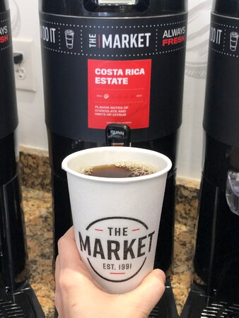 Try our freshly brewed Market coffee!