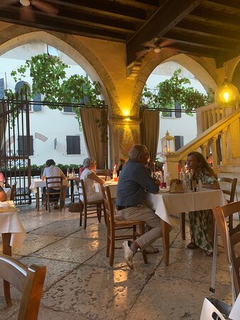 Beautiful restaurant in a superb historical setting. Delicious food, well priced. Stunning view.. Warmth of service.