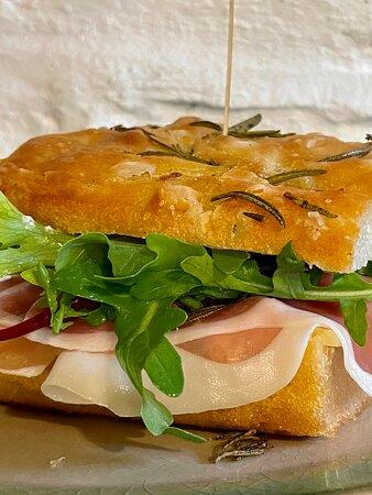 Prosciutto focaccia sandwich
