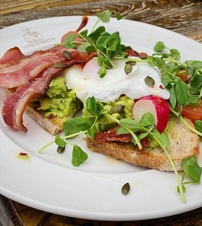 Smashed Avocado on Toasted Sourdough with Bacon & Poached Egg