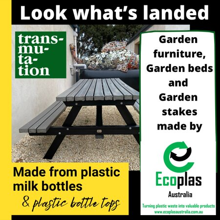 Furniture made from recycled plastic that we shredded onsite