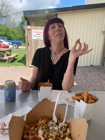 Stefy loves the fries!