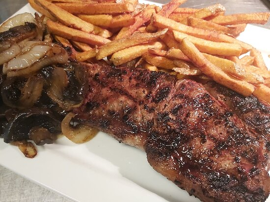 Rib steak (when we can get it and at Market $!). When we get it with the bone, 16oz available only; without the bone, we can cut it to 12oz pieces.