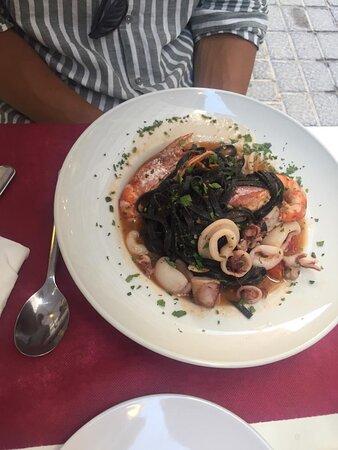 Pasta with calamari and scampi