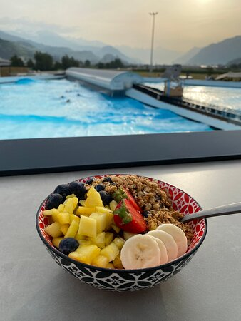 Açai bowl with the view on Alaia Bay