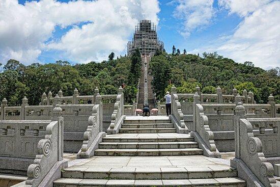 The Big Buddha under renovation, Lantau Island Hong Kong