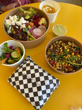 Hearty salads and Spoon salads at Lunch Box in downtown Napa.