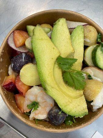 Shrimp salad with potatoes, avocado, herbs, lemon dressing at Lunch Box.