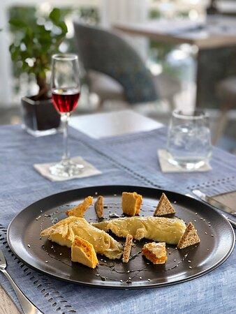 Modern Greek Dining Starter Honey and Cheese Feast (Corfiot Roasted Sheep Milk Cheese, Caramel Honeycomb, Blossom Honey)