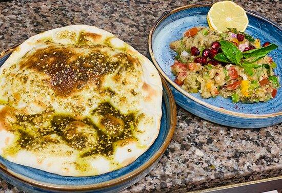 Baba ganouj with zataar bread  And boatman salmon