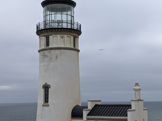 If you look close, you'll see a bald eagle by the lighthouse