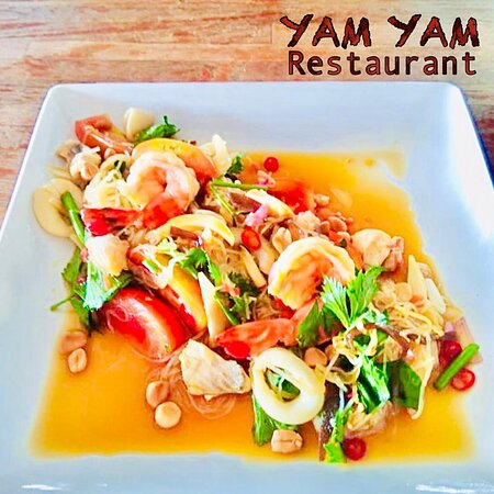 Yam Wun Sen seafood (Thai vermicelli salad choice of Beef, Chicken or Seafood) YAM YAM Restaurant Jepara is Open Everyday!!!!!! Nonstop. Stay safe & healthy.  See you... Kiss (from faraway) All staff YAM YAM 😘