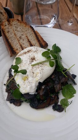 Burrata with mushrooms and spinach.
