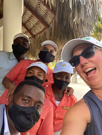 Here I am with the beach crew!  JLo, Chari, Ros, Abraham were the best with keeping my drinks full and very fun to be with!  Junior C made wonderful drinks and a delight to hang out with.  These people were AMAZING!  Find them if you go to the beach for the day!  You won't be disappointed! 5 ⭐️⭐️⭐️⭐️⭐️