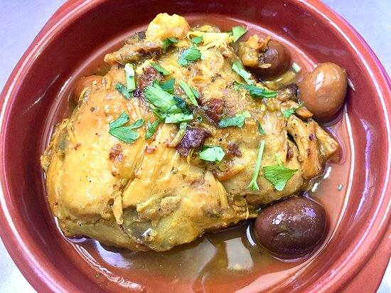 Chicken cooked with saffron and juicy kalamata olives… succulent and delicious!