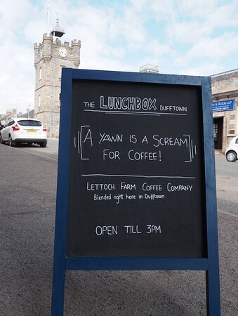 Check our sandwich boards for answers to the mysteries of the universe...