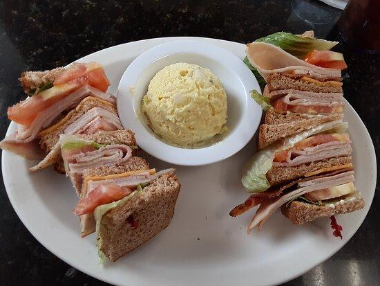 club sandwich and potato salad