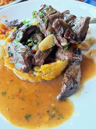 Mashed Plantain filled with Skirt Steak