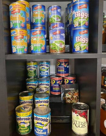 A large selection of British canned goods.