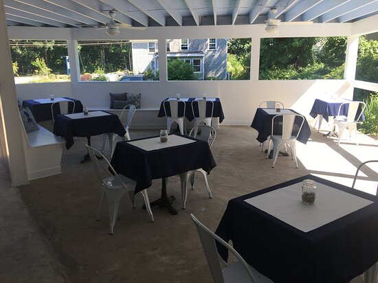 Enjoy a meal on our outdoor covered porch.