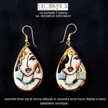 #Orecchini #Decortack in #ceramicaterzofuocodipintaamano.  Linea visi di donna stilizzati. Spediamo ovunque.  Punto vendita via Garibaldi 7 Catania tel. 095348510-3294198247