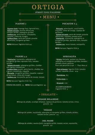 MENU Restaurant Ortigia