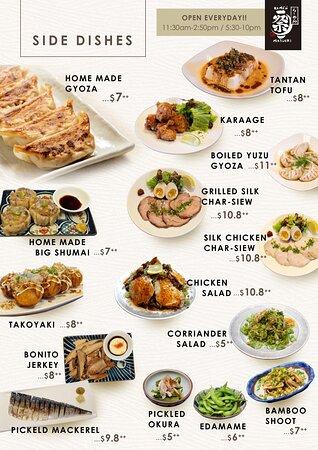 Side dish menu