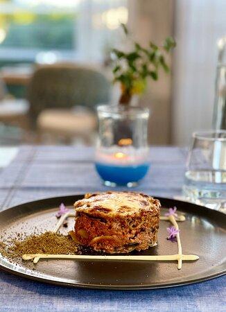 Modern Greek Dining Main Course Moussakas (Eggplant, Potato, Ground Beef, Smoked Cream Bechamel)